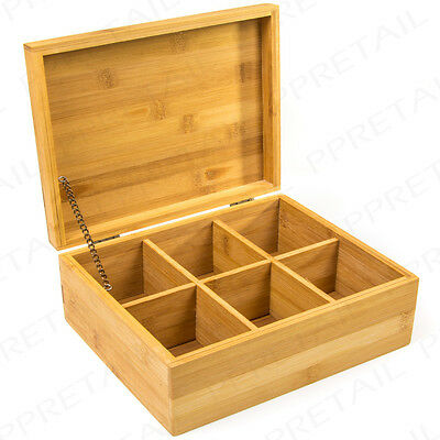 REAL BAMBOO Tea Bag Box 6 Compartments High Quality Natural Wood Solid Lid Chest