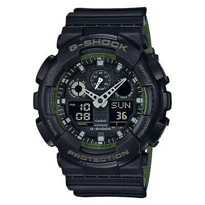 Casio GA100L-1A Men's G-Shock Black & Green Band Ana-Digi Watch