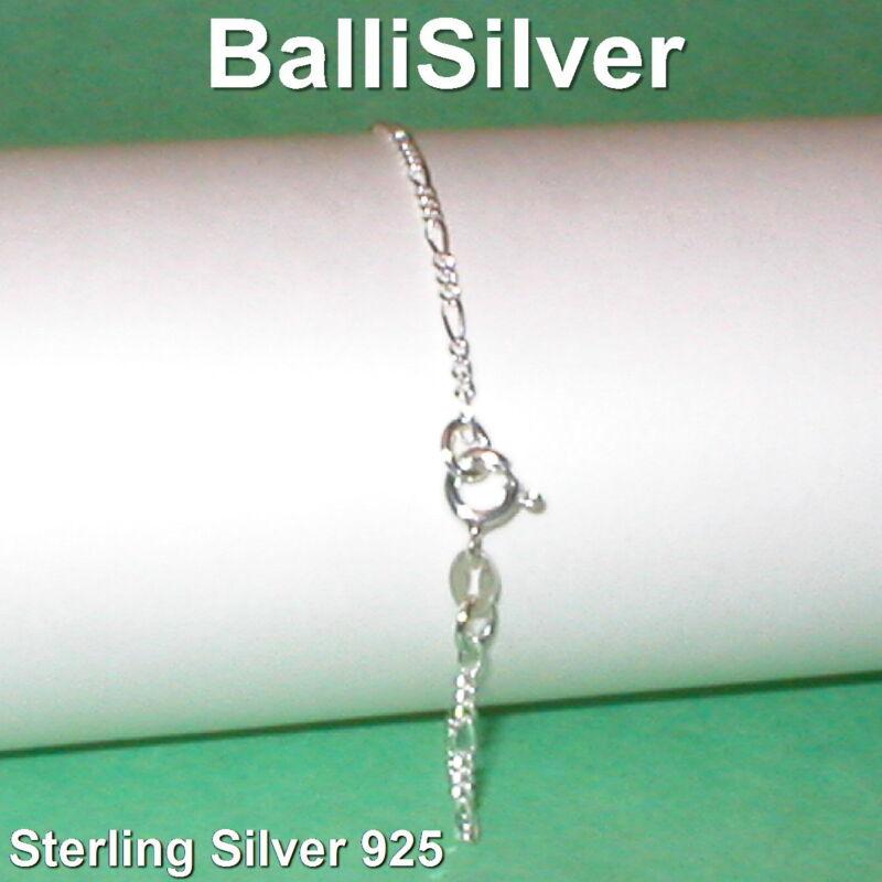24 pcs Sterling Silver 925 Diamond Cut 2mm FIGARO Chain BRACELETS Wholesale Lot