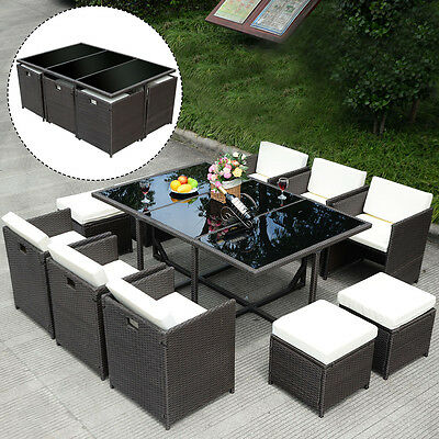 Garden Furniture - 11 PCS Outdoor Patio Dining Set Metal Rattan Wicker Furniture Garden Cushioned