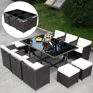 11 PCS Outdoor Patio Dining Set Metal Rattan Wicker Furniture Garden  Cushioned