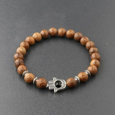 - Hot Men's Woman Evil Eye Beads Wooden Beaded Stretch Fashion Lucky Bracelets 8MM