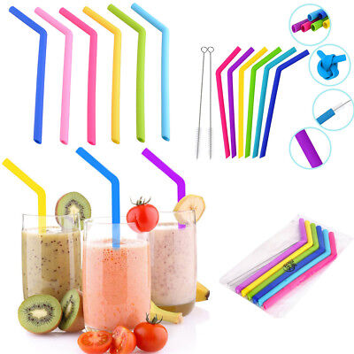 8PCS Reusable Drinking Straw Silicone Straws For Home Party Barware Accessories