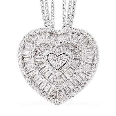 "Jewellery - White Cubic Zirconia CZ Triple Strand Valentine Heart Chain Pendant Necklace 20"""