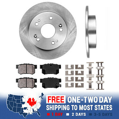 Rear Brake Rotors & Ceramic Pads For Acura ILX Honda Civic Coupe Sedan Prelude