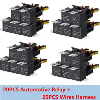 20pcs 12v 5-pin Spdt Car Automotive Relay 5 Wires Harness Socket 3040a Jd1914