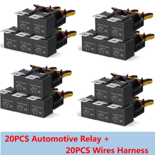 20PCS 12V 5-Pin SPDT Car Automotive Relay + 5 Wires Harness Socket 30/40A JD1914