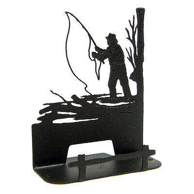 Fly Fishing Black Metal Business Card Holder
