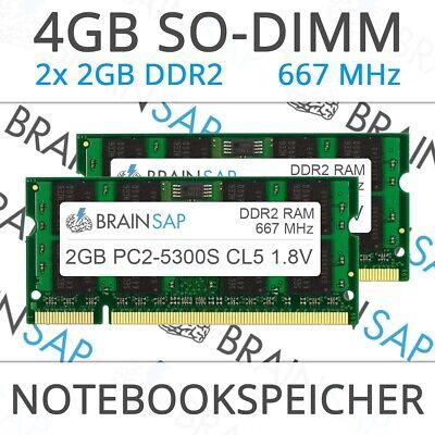4GB (2x 2GB) DDR2 RAM PC2-5300S 2Rx8 667 MHz 1.8V Notebook Arbeitsspeicher CL5