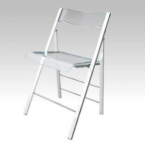 sedia pieghevole trasparente policarbonato acrilico acciaio sedie plexiglass ebay. Black Bedroom Furniture Sets. Home Design Ideas