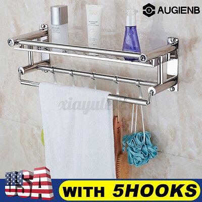 2-Tier Bathroom Towel Rack Holder Wall Mount Rail Hotel Toilet Shower Home