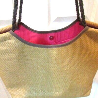 EDDIE BAUER Straw Leather Beach Handbag/ Tote/ Purse Pink Bag Eddie Bauer Lightweight Tote