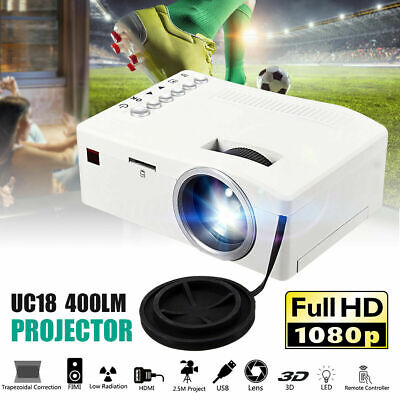 3D Home Theater Cinema Portable 1080P HD Mini LED Projector Video HDMI USB AV SD