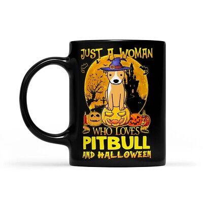 Just A Woman Who Loves Pitbull And Halloween - Black Mug