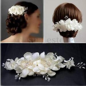 Bridal Wedding Bridesmaid Prom Hair Clip Fauxl Pearl Flower Comb Tiara USA