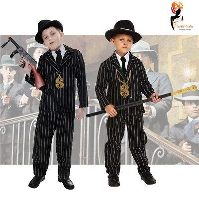 Boys Child Gangster Black Costume 1920's Fancy Dress Kids World Book Week Outfit - Kids Gangster Costume