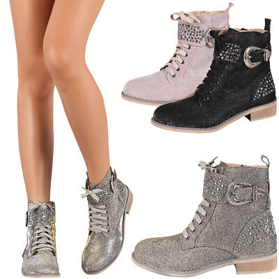 New Womens Shimmer Glitter Stud Military Combat Lace Up Ankle Booties Work - Glitter Combat Boots