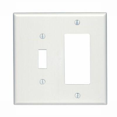 Leviton 80605-W 2-Gang 1-Toggle 1-Decora/GFCI Device Combination Wallplate, Whit
