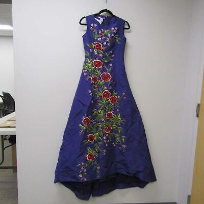 Oscar De La Renta Women's US 12 Floral Embroidered Gown Royal Purple *PreOwned*