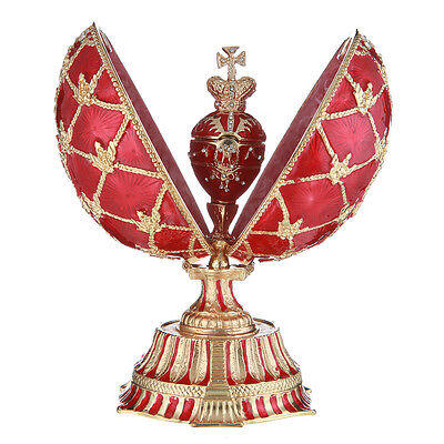 Used, Faberge Egg with Russian Coat of Arms & Emperor's Crown & Clock 5.7'' 14.5cm red for sale  Shipping to United States