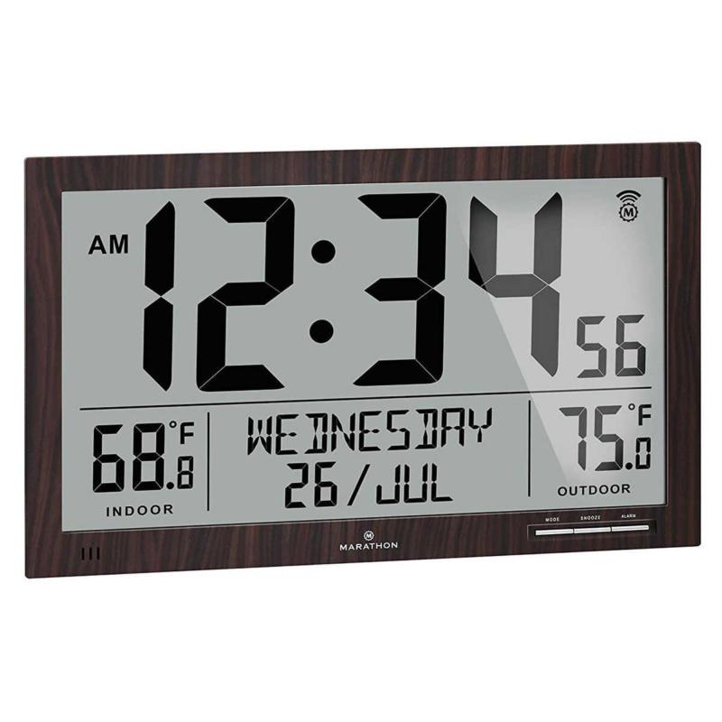 Marathon Atomic Full Calendar Clock with Indoor / Outdoor Te