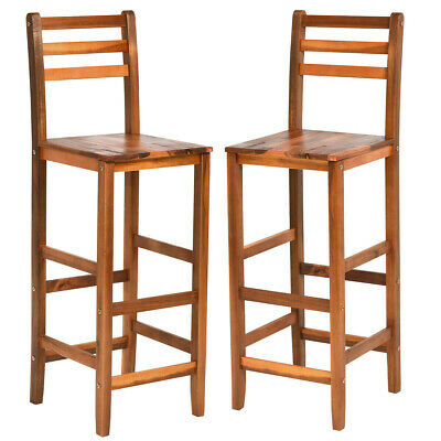 Tall Wooden Patio Bar Stool - Set of 2 Chairs - Ladder Back - Seat Height 28.5