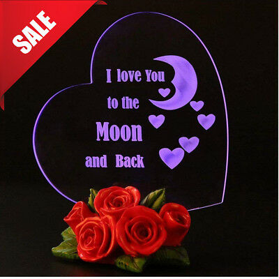 Valentines Day Gift For Her Wife I Love You To The Moon And Back Heart LED Light - Valentines Day Hearts