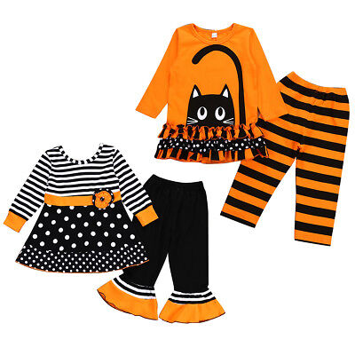 Halloween Clothes Kids (2PCS Kids Baby Girls Halloween Outfits Clothes T-shirt Tops Dress+Long Pants)