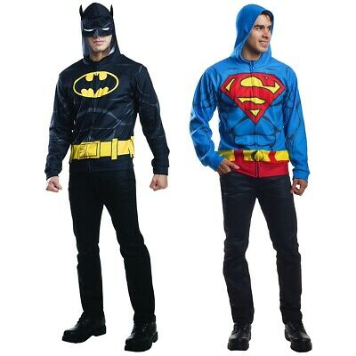 Superhero Hoodie Adult Teen Batman Superman Halloween Costume Fancy Dress