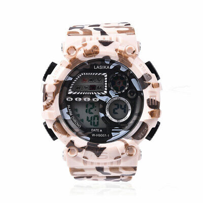 STRADA LED Electronic Watch Men's with Silicone Camouflage Band Khaki