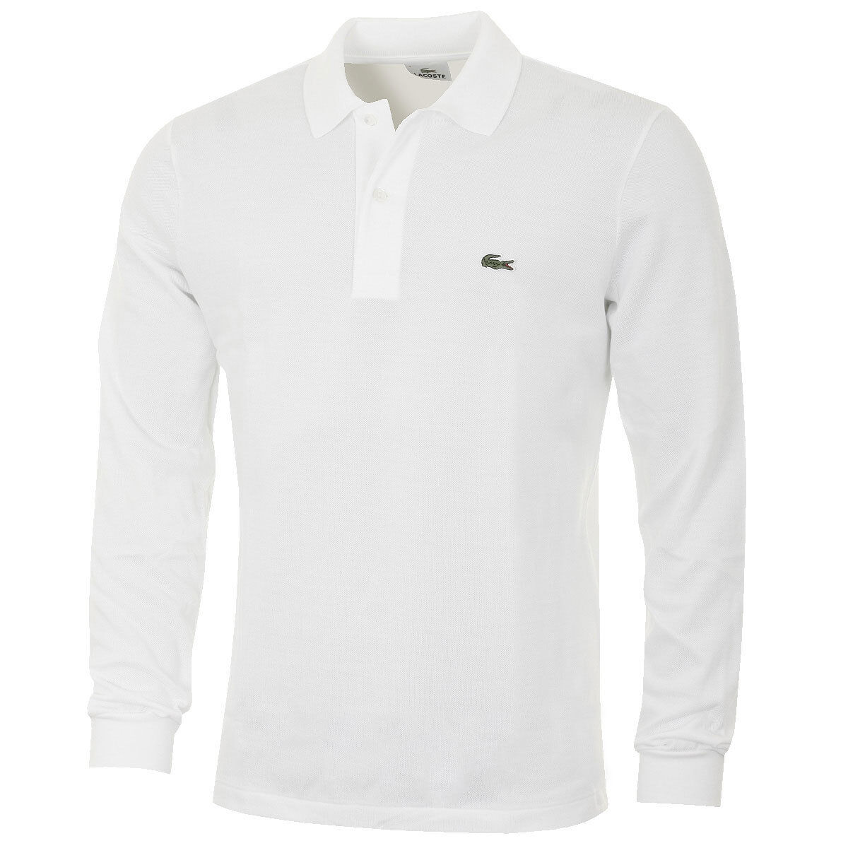 Lacoste L1312 Mens Classic Cotton Long Sleeve Polo Shirt - Size Large T5 - White