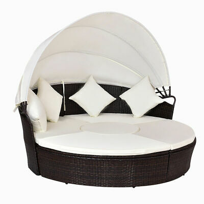 Outdoor Patio Canopy Cushioned Daybed Round Retractable Rattan Furniture Set ()
