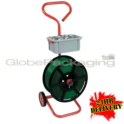 Heavy Duty Packer Hand Strapping Trolley Mobile Dispenser Tool With Wheels