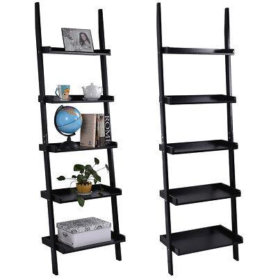 5 Tier Ladder - Black 5-Tier Bookcase Bookshelf Leaning Wall Plant Shelf  Ladder Storage Display