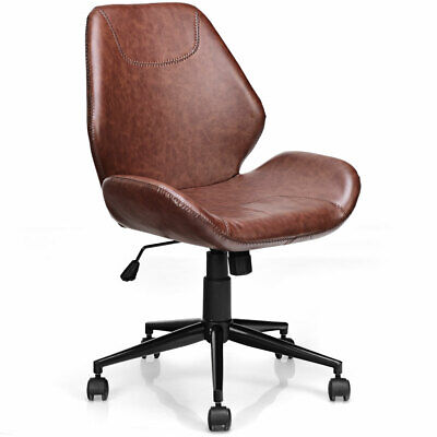 Rolling Office Home Leisure Chair Mid-back Upholstered Pu Leather Chair