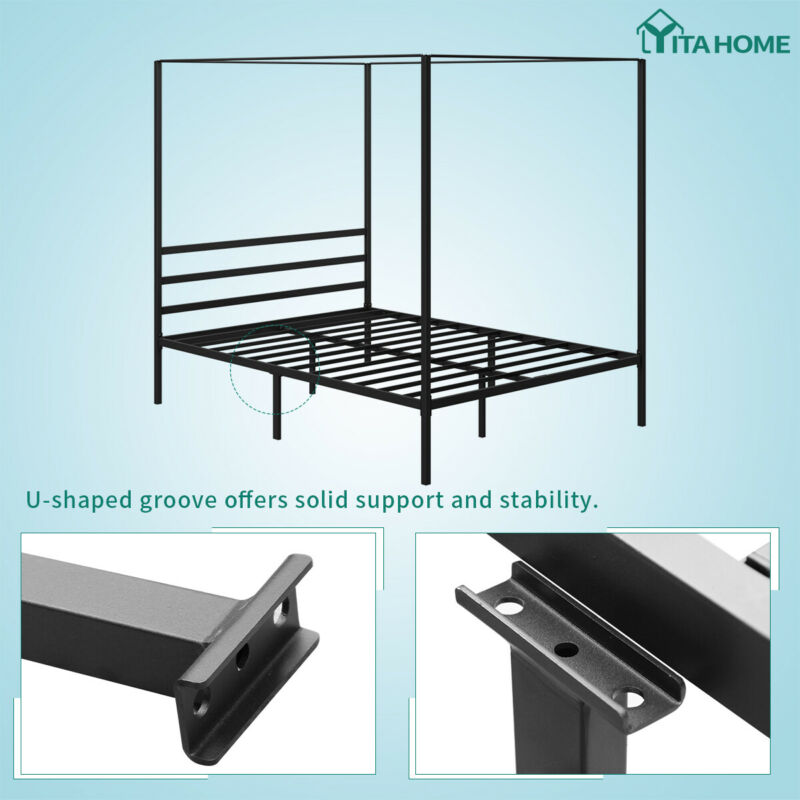 """YITAHOME Queen Metal Bed with Platform No Spring 14"""""""