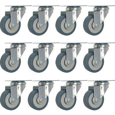 12 Pack 2-inch Heavy Duty Swivel Wheel Rubber Plate Caster Lot