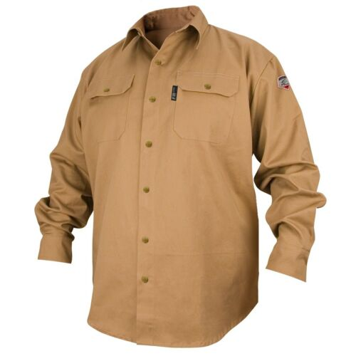 Revco Black Stallion Khaki 7oz FR Welding Shirt (Large) (FS7-KHK)