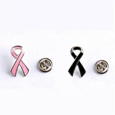 Pink/Black Breast Cancer Awareness Charity Ribbon Elegant Jewelry Brooch Pins (Ribbon Charity)