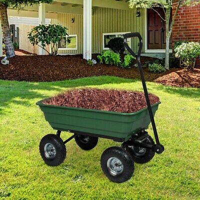 Garden Yard Dump Cart Dumper Wagon Carrier Wheel Barrow Heav