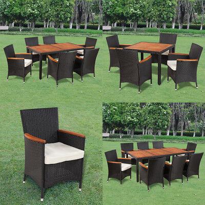 Patio Outdoor Garden Dining Set Rattan Wicker Acacia Wood Ch