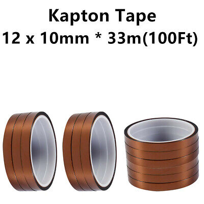 12 Rolls 100ft Temperature Heat Resistant Kapton Polyimide Tape 10mm X 33m