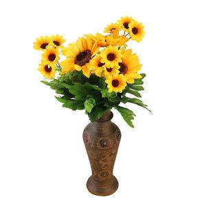 Home Wedding Artificial Silk Fake Sunflower Head Hair Flower Party Floral Decor