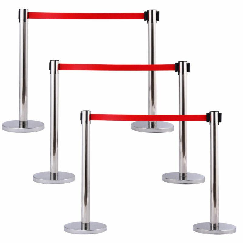 6Pcs Stanchion Posts Queue Pole Retractable Red Belt Crowd Control Barrier New