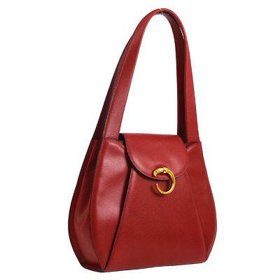 Cartier Panther Logos Shoulder Bag Red Leather Vintage France Authentic AK36857f