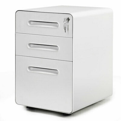 3-drawer Mobile Metal File Cabinet Wanti-tilt Mechanism Legalletter Size White
