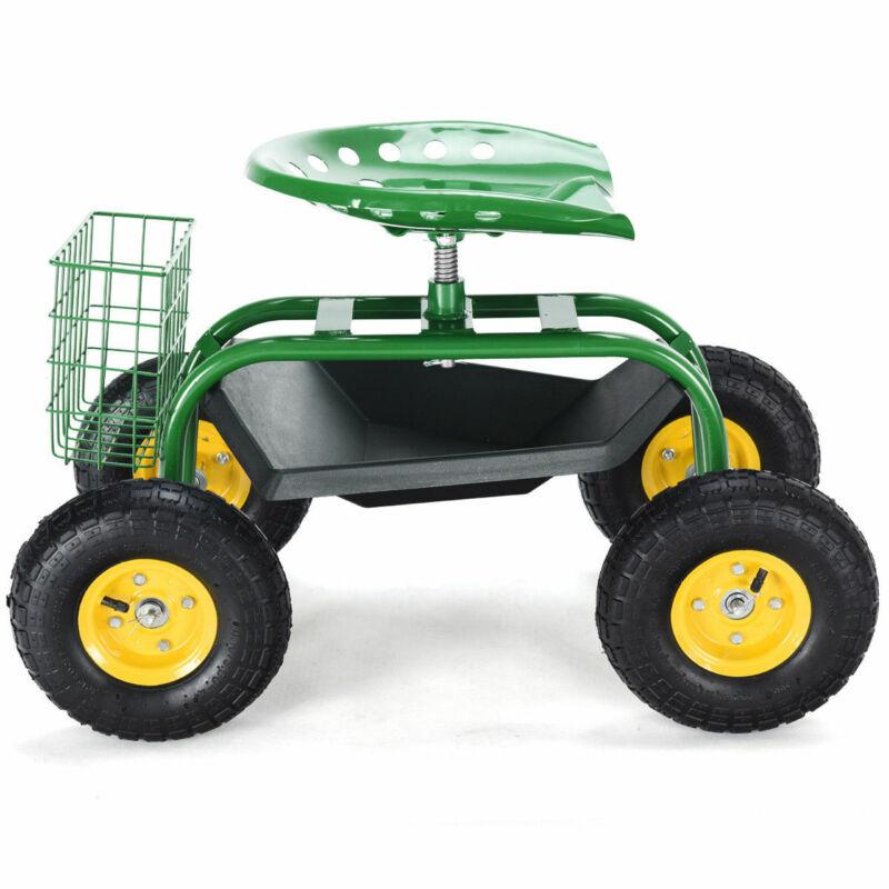 Costway Rolling Garden Cart Efficient Work Seat Gardening Planting W/ Tool Tray