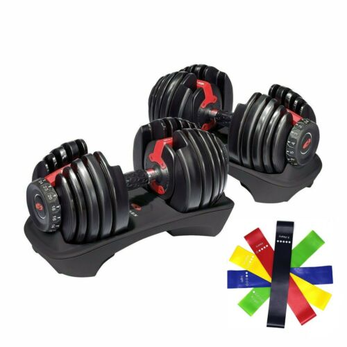 2 Bowflex SelectTech 552 Dumbbells (1 Pair) Adjustable Weight from 5 to 52.5 lb