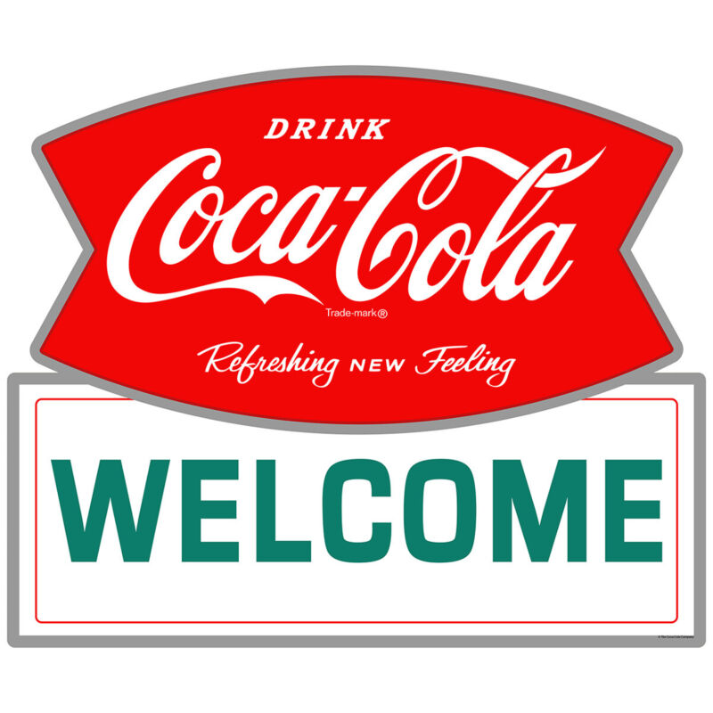 Drink Coca-Cola Welcome Fishtail Logo Wall Decal 24 x 20 Kitchen Decor