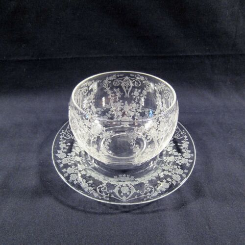 Vintage Cambridge Diane Floral Etched Mayonnaise Bowl & Underplate AMAZING
